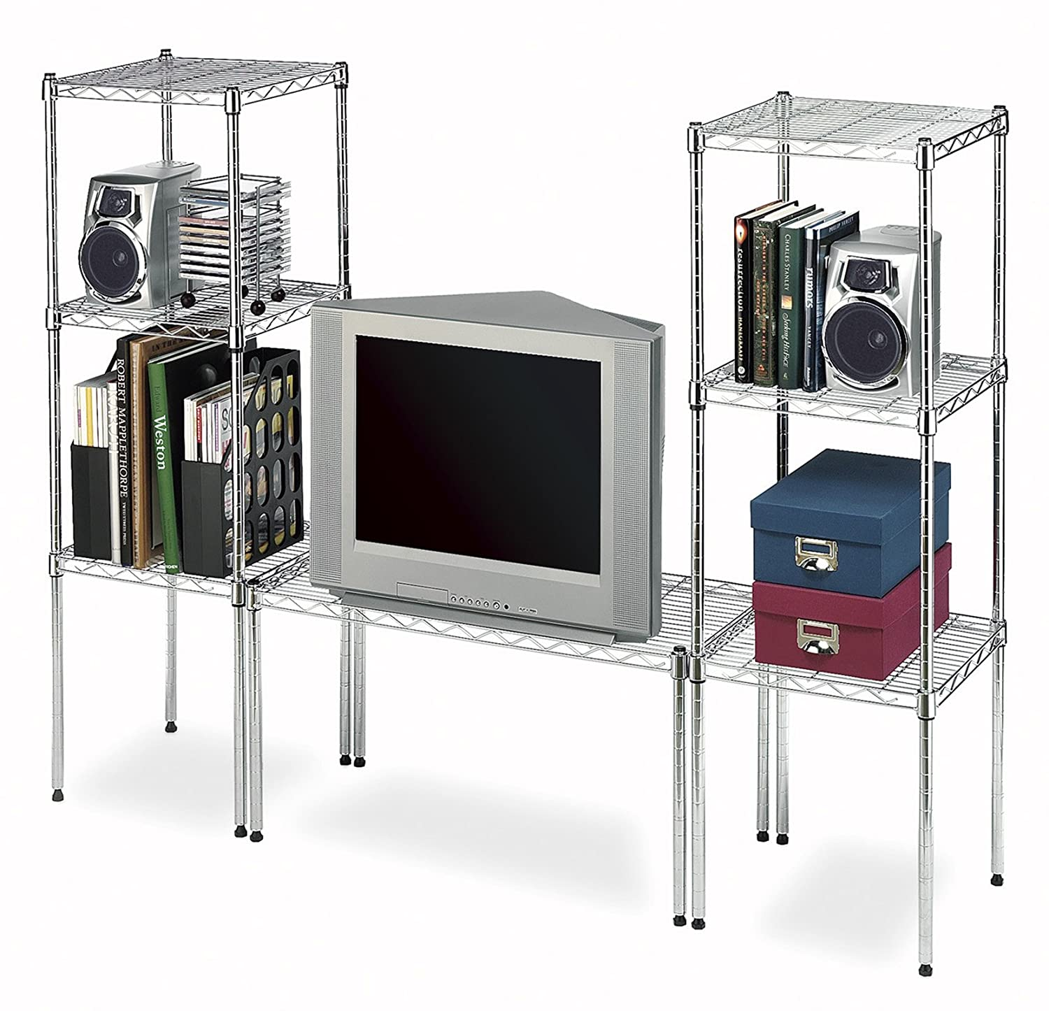 Amazon.com: Whitmor Supreme Wide Stacking Shelf, Chrome: Home ...