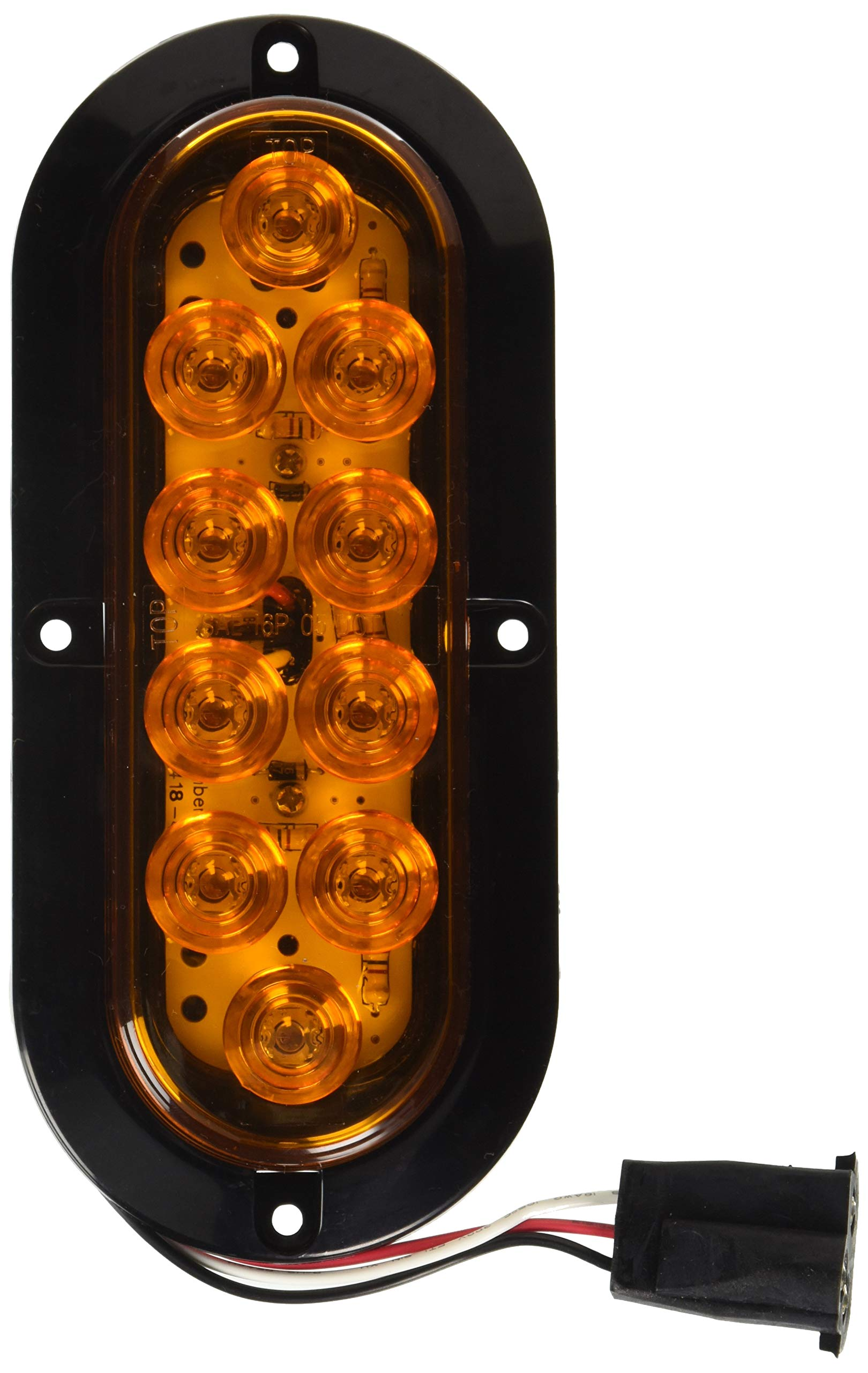 GG Grand General 77430 LED Light (Oval Mega10 Amber with Black Flange and 3 Wires) by GG Grand General