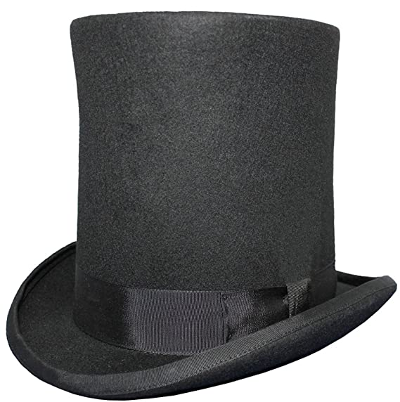 VIZ Gents LINCOLN High Top Hat - 100% Wool - Satin Lined Black ... d4987885f49