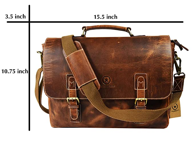 """15.5"""" Rugged Handcrafted Leather Messenger Bag   Adjustable Detachable  Shoulder Strap   Multiple Compartments with Cushioned Interior Walls Ideal  for Laptop ... 55f00caa8f"""