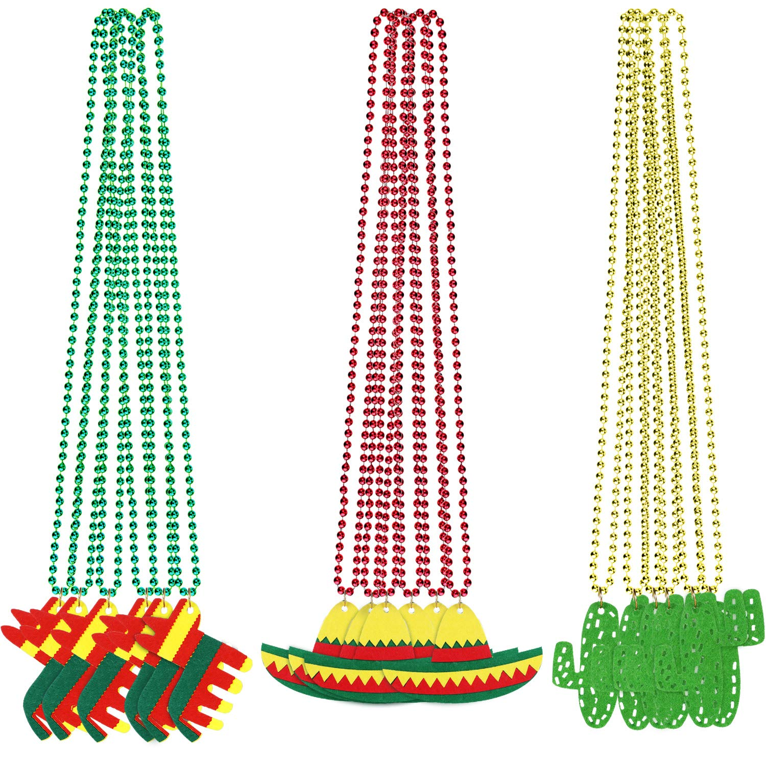 18 Pieces Fiesta Beaded Necklaces Cactus Sombrero Hat Shaped Necklaces for Mexican Party Decorations Birthday Fiesta Party Supplies, Red, Gold, Green by Boao