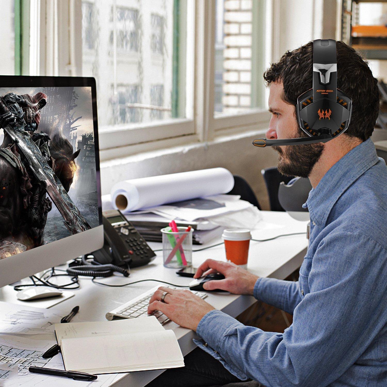 Casque Gaming Micro G2000, Casque de Jeux Filaire PC avec Microphone, Contrôleur de Volume, LED, Casque Gamer pour PC