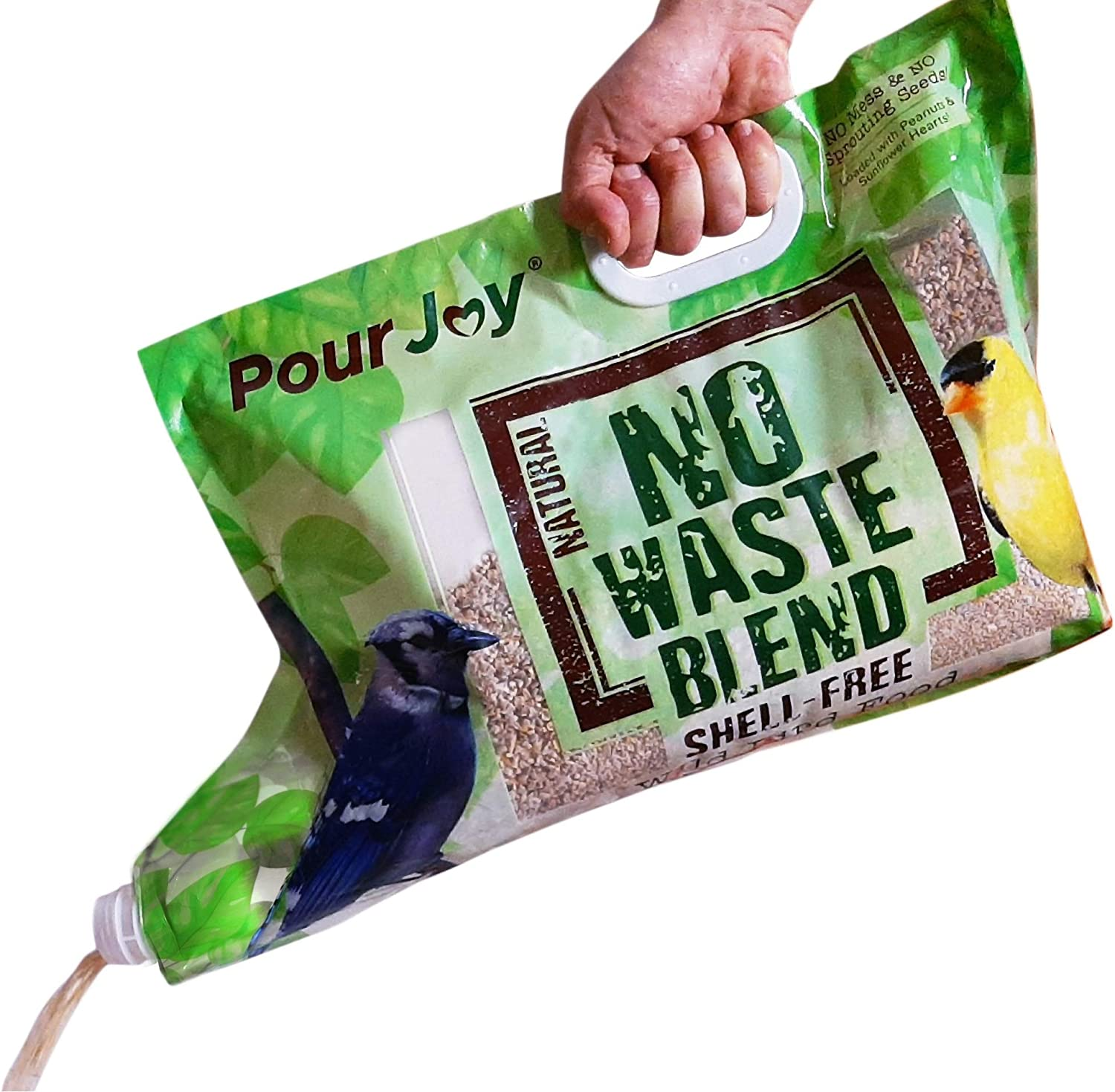 Pour Joy No Mess, No Waste, Shell-Free Blend, 10 lb Bag with Built-in Spout Allows You to Fill Feeders Quickly & Easily Without Scooping, No Spilling Wild Bird Seed, Premium Bird Food (1)