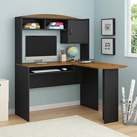 Home And Office Wooden L Shaped Desk With Hutch; A Space Saving Corner
