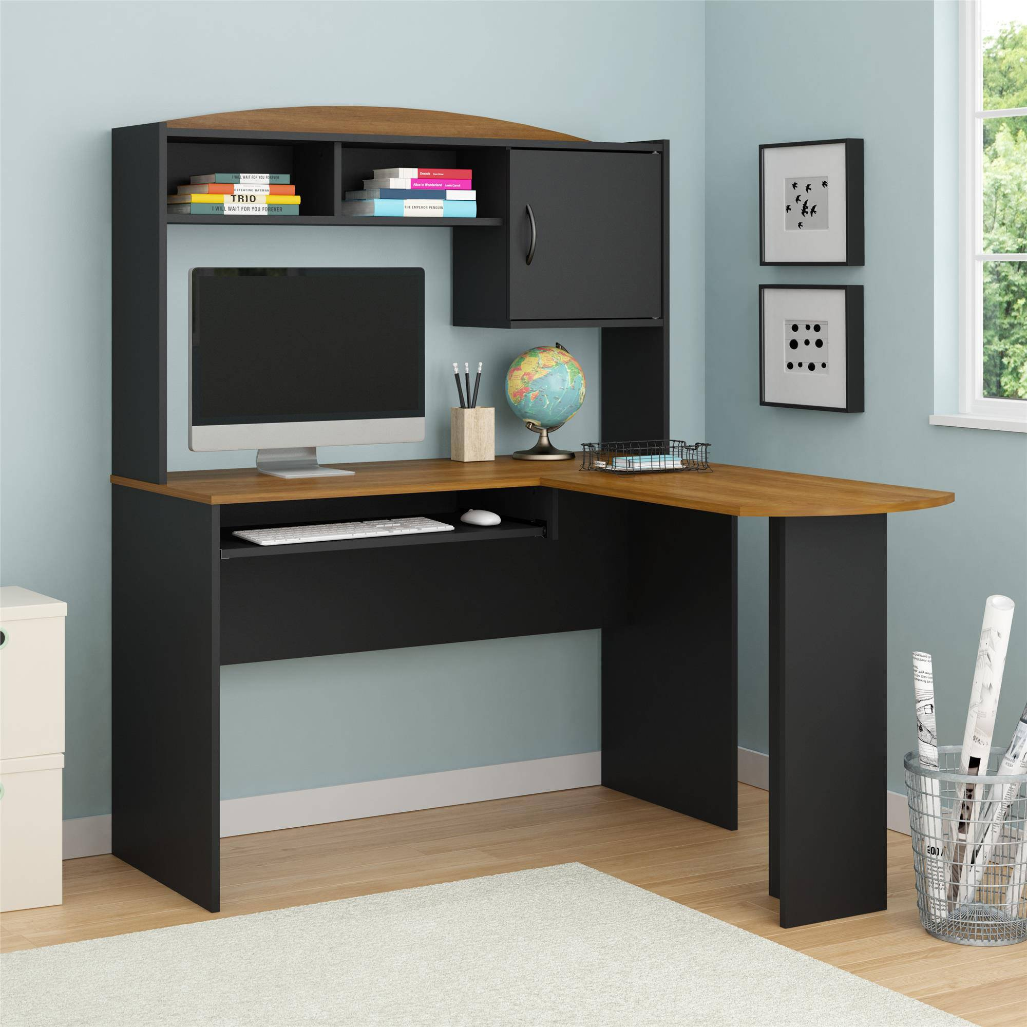 Home and Office Wooden L-Shaped Desk with Hutch; A Space Saving Corner-Table Furniture featuring multiple storages; Also Available in Multiple Finishes, H: 152.8 cm x W: 120.5 cm x D: 124.9 cm
