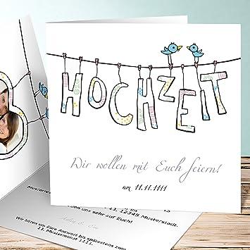 Hochzeitseinladungen Selber Gestalten Hochzeitswascheleine 5 Karten
