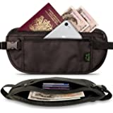CampTeck RFID Hidden Money Belt Travel Pouch Wallet for Cash, Passport, Debit & Credit Cards, Smartphone etc – Black