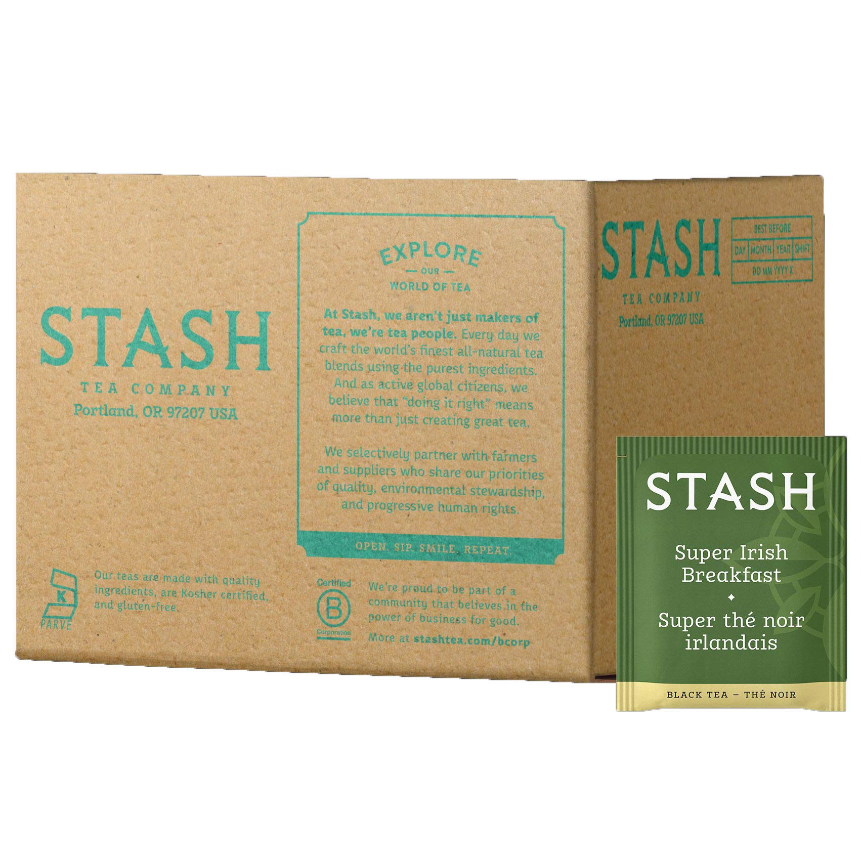 Stash Tea Super Irish Breakfast Black Tea 100 Count Box of Tea Bags in Foil (packaging may vary) Individual Black Tea Bags for Use in Teapots Mugs or Cups, Brew Hot Tea or Iced Tea