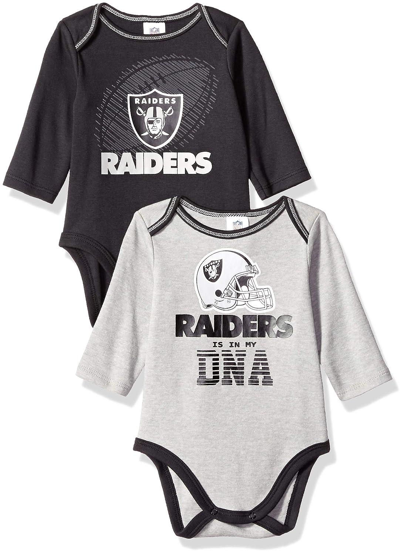 NFL Oakland Raiders Unisex-Baby 2-Pack Long-Sleeve Bodysuits, Black, 3-6 Months