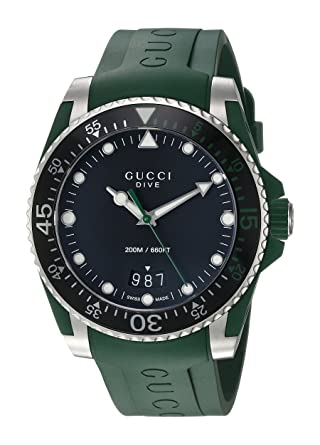 Gucci Quartz Stainless Steel and Rubber Casual Green Mens Watch(Model: YA136310)