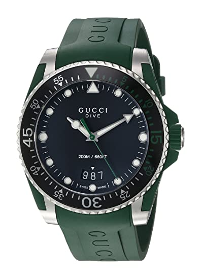 Amazon.com: Gucci Quartz Stainless Steel and Rubber Casual Green Mens Watch(Model: YA136310): Gucci: Watches
