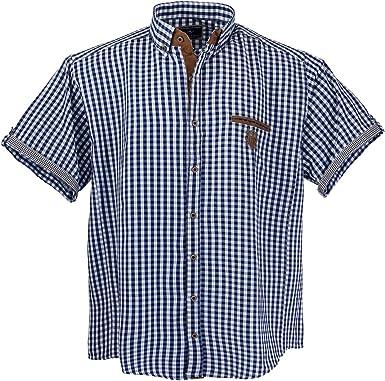 Lavecchia 1129 - Camisa de hombre de manga corta, en colores azul, blanco y marrón, en tallas grandes 3-7 XL: Amazon.es: Ropa y accesorios