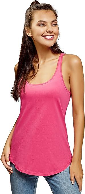 oodji Ultra Mujer Camiseta de Tirantes Básica de Algodón, Rosa, ES 34 / XXS: Amazon.es: Ropa y accesorios