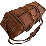 "30"" Inch Real Goat Vintage Leather Large Handmade Travel Luggage Bags in Square Big Large Brown bag Carry On (30 inch)"