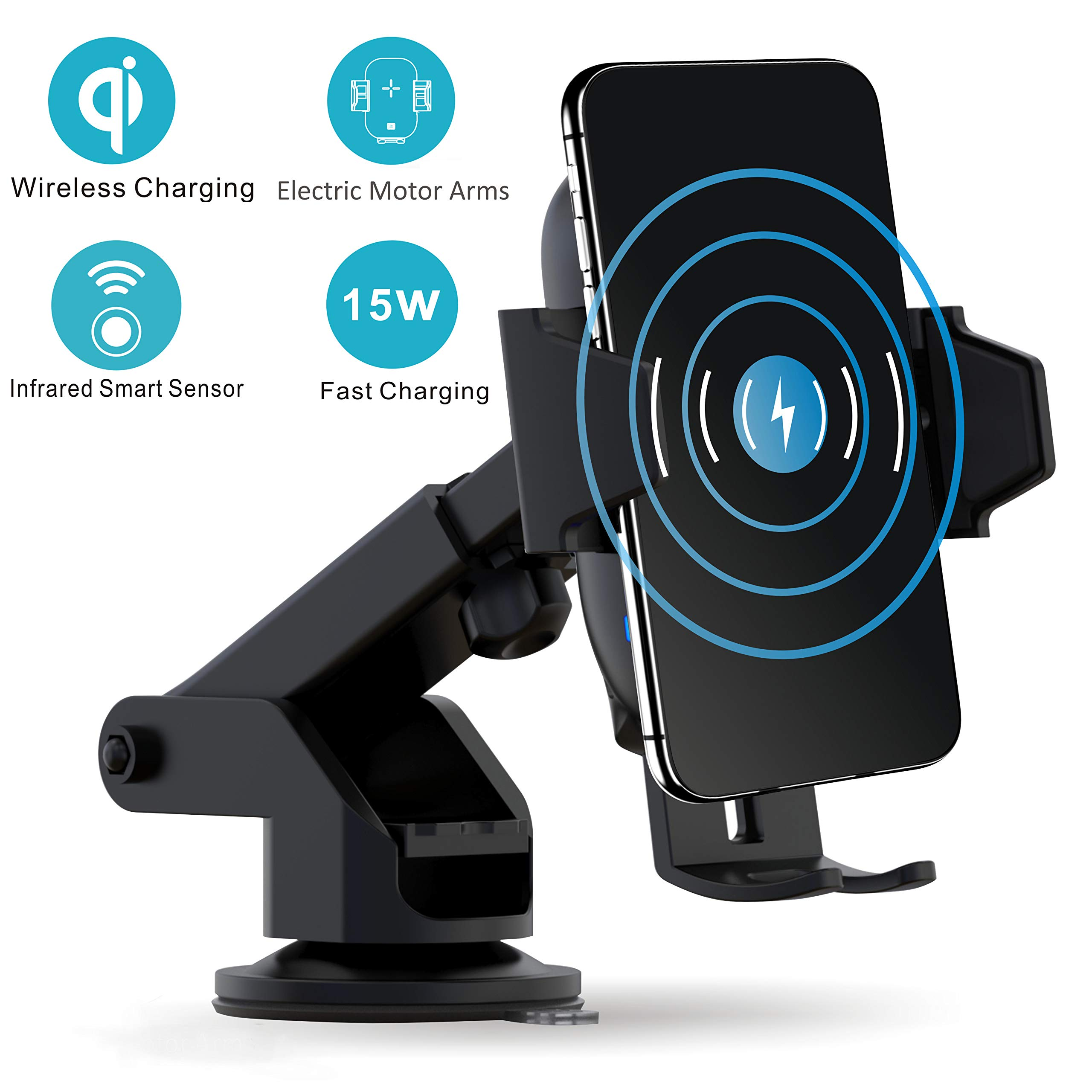 VORCSBINE Wireless Car Charger Mount,Auto-Clamping 15W/10W/7.5W Qi-Certified Fast Charging Mount(Patent), Air Vent Holder Compatible with iPhone 11/11 Pro/11 Pro Max/Xs MAX/XS/XR/X,Samsung S10/S10+ by VORCSBINE