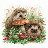 RIOLIS Hedgehogs in Lingonberries Cross Stitch Picture for The Home, Multi-Colour
