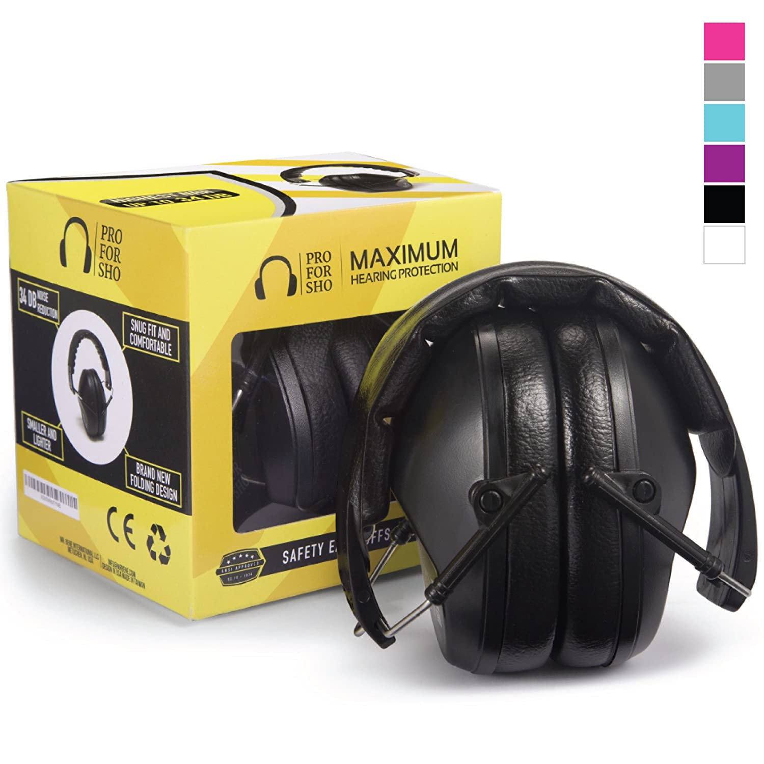 Pro For Sho 34dB Safety Ear Protection - Special Designed Ear Muffs Lighter Weight & Maximum Hearing Protection , Black