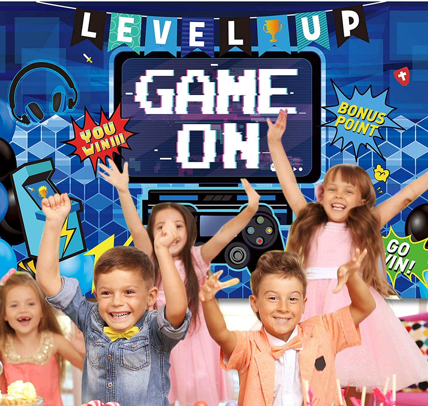 70.9 x 43.3 Inch Video Game Party Decoration Video Gaming Photo Backdrop Background Birthday Photo Banner Gamer Room Decor for Game Fans Video Gamer Party Decoration Supplies