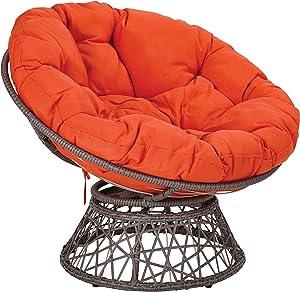 OSP Home Furnishings Papasan Chair with 360-degree Swivel, Orange Cushion and Grey Frame