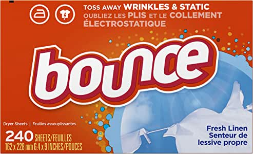Bounce Fresh Linen Scented Fabric Softener Dryer Sheets, 240 Count