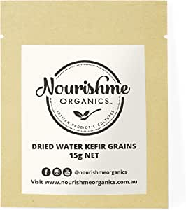 Water Kefir Grains Organic to Make Your Own Water Kefir Drink Using Water or Coconut Water with Our Dehydrated Water Kefir Grains Starter by Nourishme Organics- 15g
