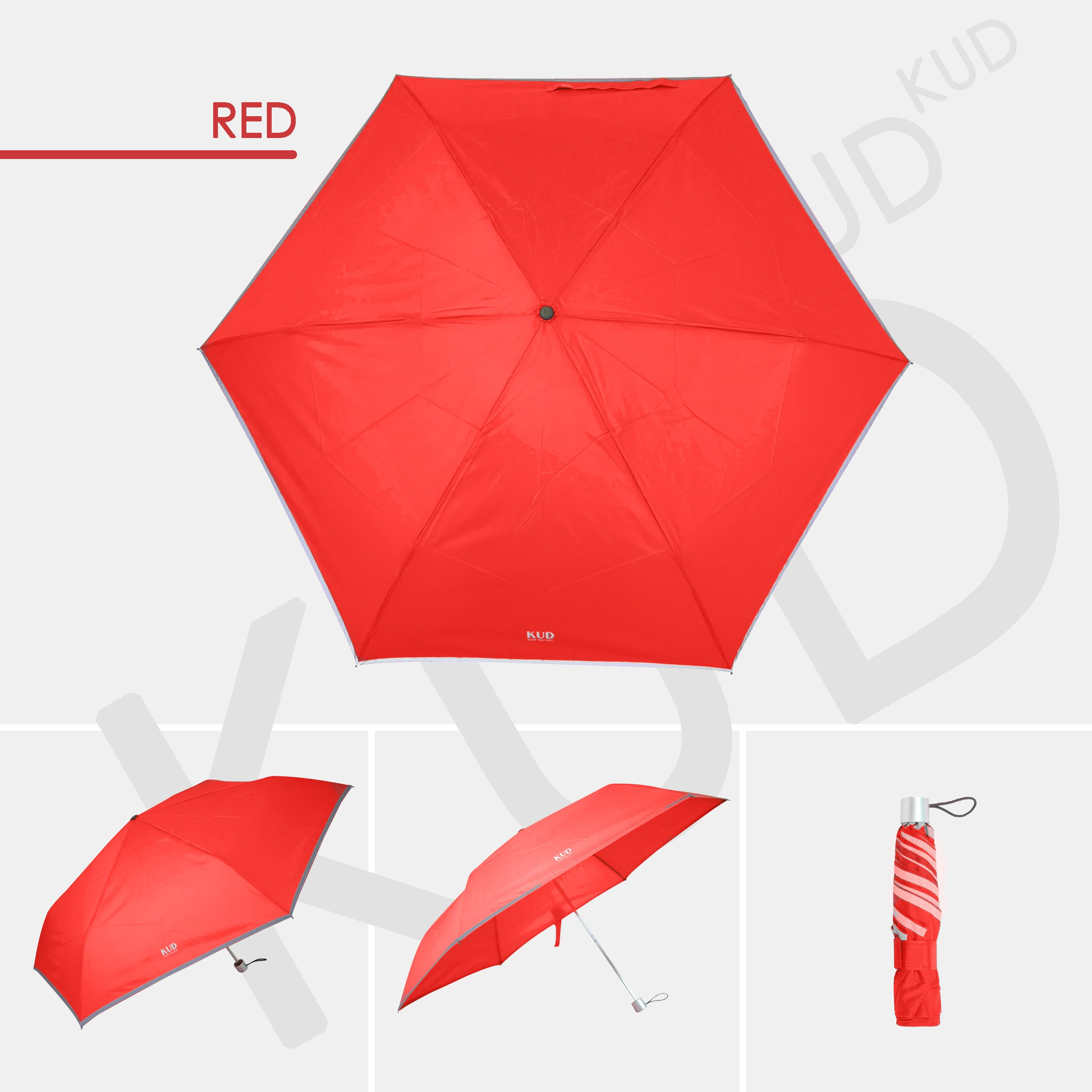 KUD Lightweight Compact travel umbrella with 50 inch Arc large coverage (Red) by Keep You Dry (Image #2)