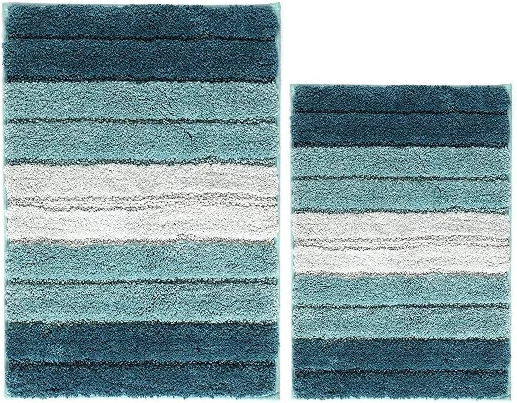 "Bathroom Rugs 2 Piece Cordural Stripe Bath Rug Set Non Slip Door Mat, Soft Water Absorbent Plush Bath Mat for Bathroom Machine Washable Extra Thick(2 pack, 20""×32"" and 18""×28"" Gradient Blue)"