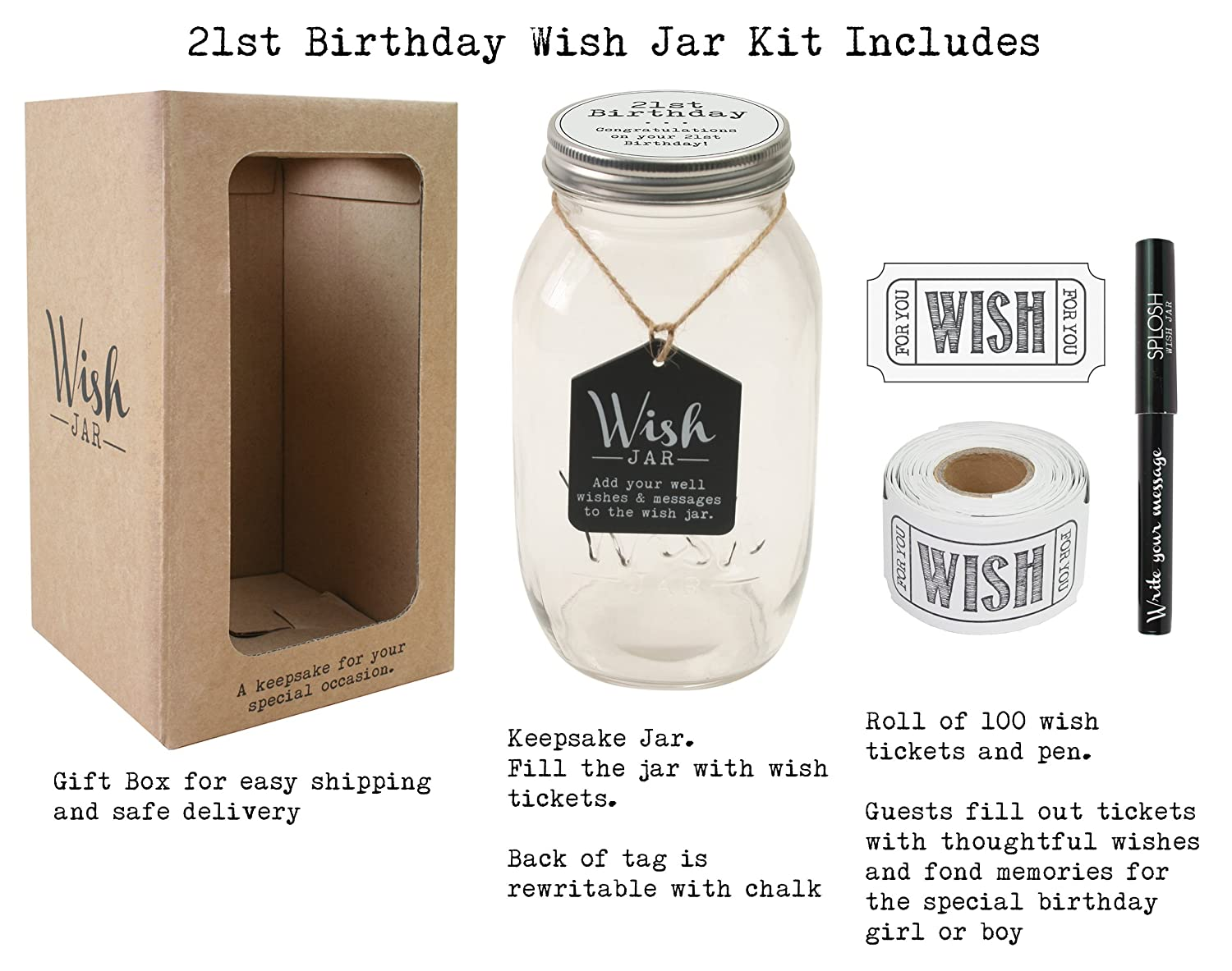 Sister and Brother ; Memorable Gifts for Men and Women ; Kit Comes with 100 Tickets and Decorative Lid Top Shelf 21st Birthday Wish Jar ; Unique Gift Ideas for Daughter Son