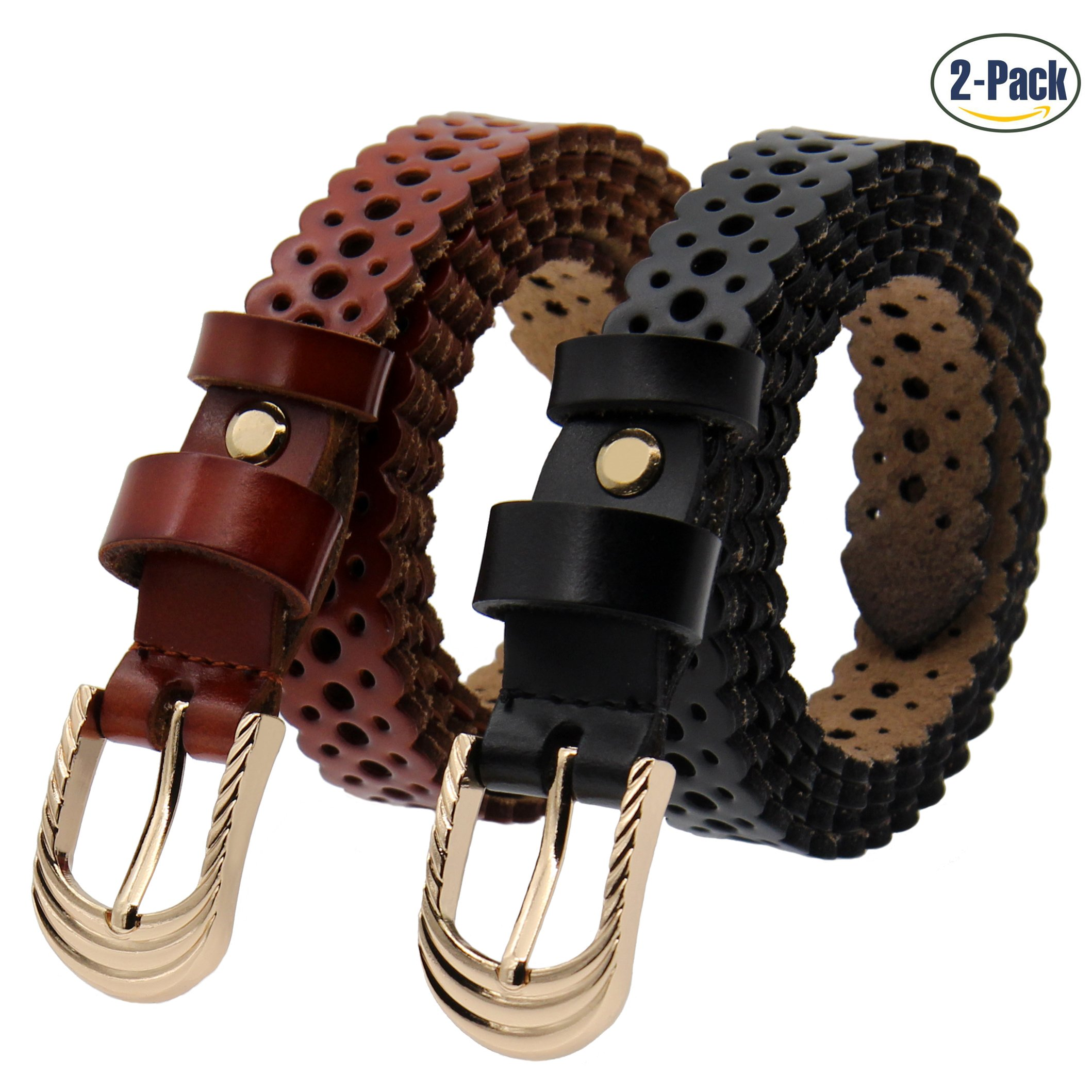 Set of 2 Women's Genuine Cowhide Leather Belt Ladies Vintage Casual Belts for Jeans Shorts Pants Summer Dress for Women With Alloy Pin Buckle By ANDY GRADE (Style 1)