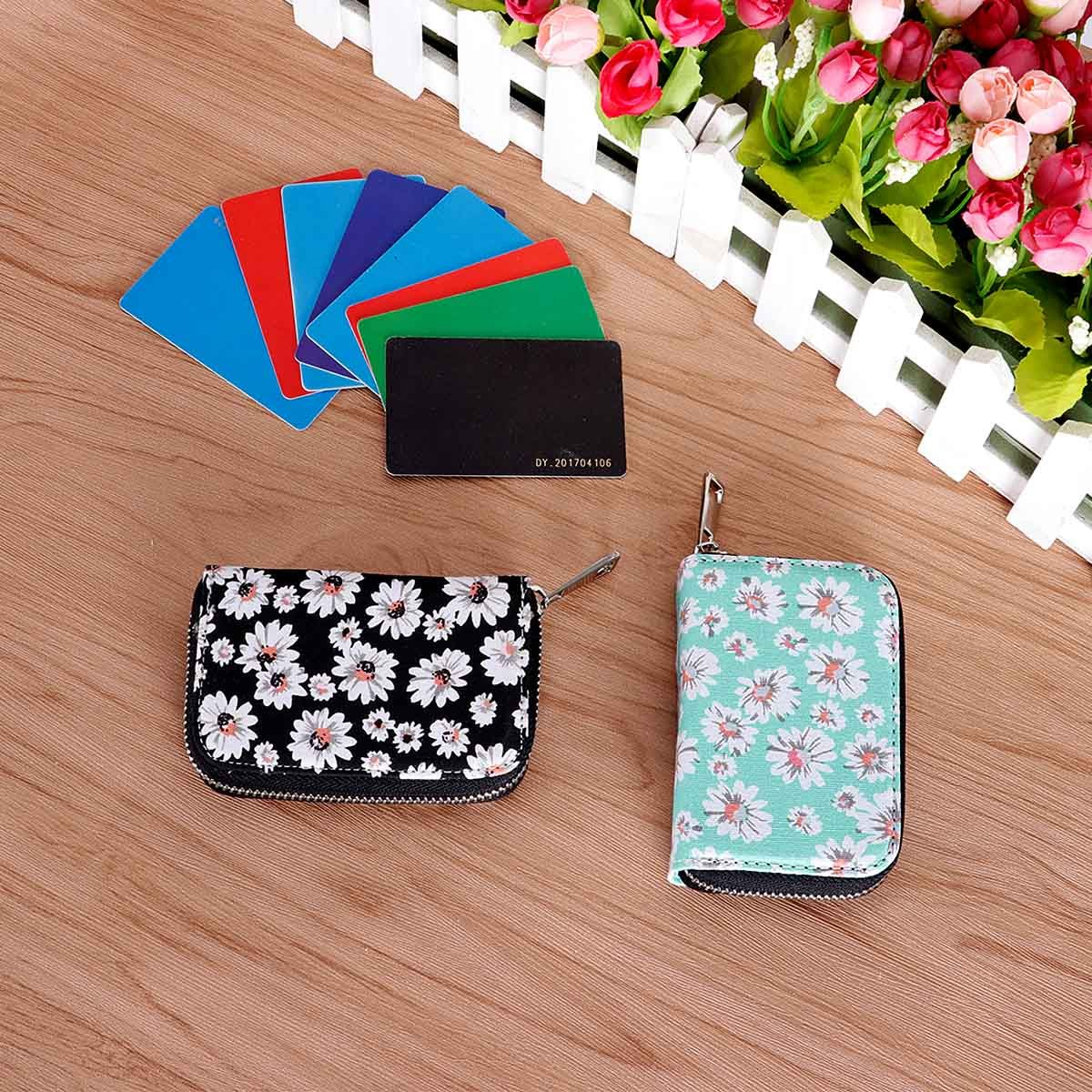 RFID Blocking Credit Card Holder Wallet Canvas Zipper Card Case Small Accordion Wallet for Women Ladies Girls