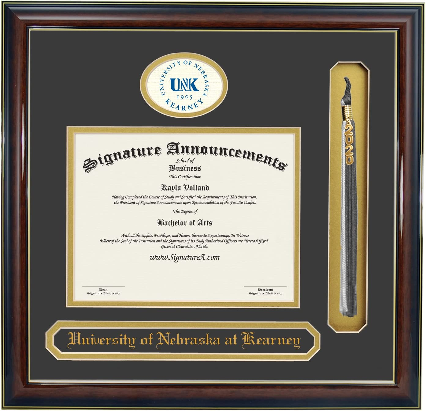 Professional//Doctor Sculpted Foil Seal Graduation Diploma Frame 16 x 16 Matte Mahogany Signature Announcements University-of-Nebraska-at-Kearney Undergraduate