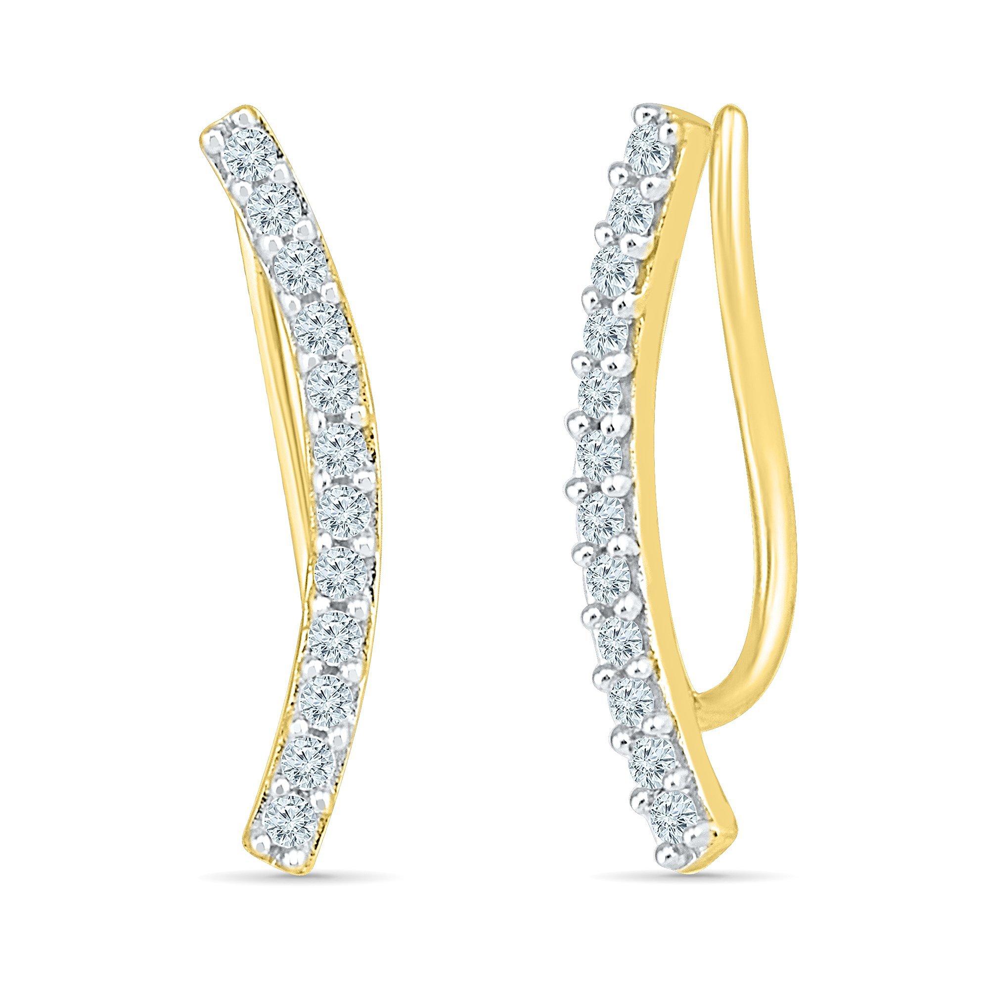 Ear Crawler Cuff Earrings In 10K Yellow Gold And Diamonds (0.40 CTTW)