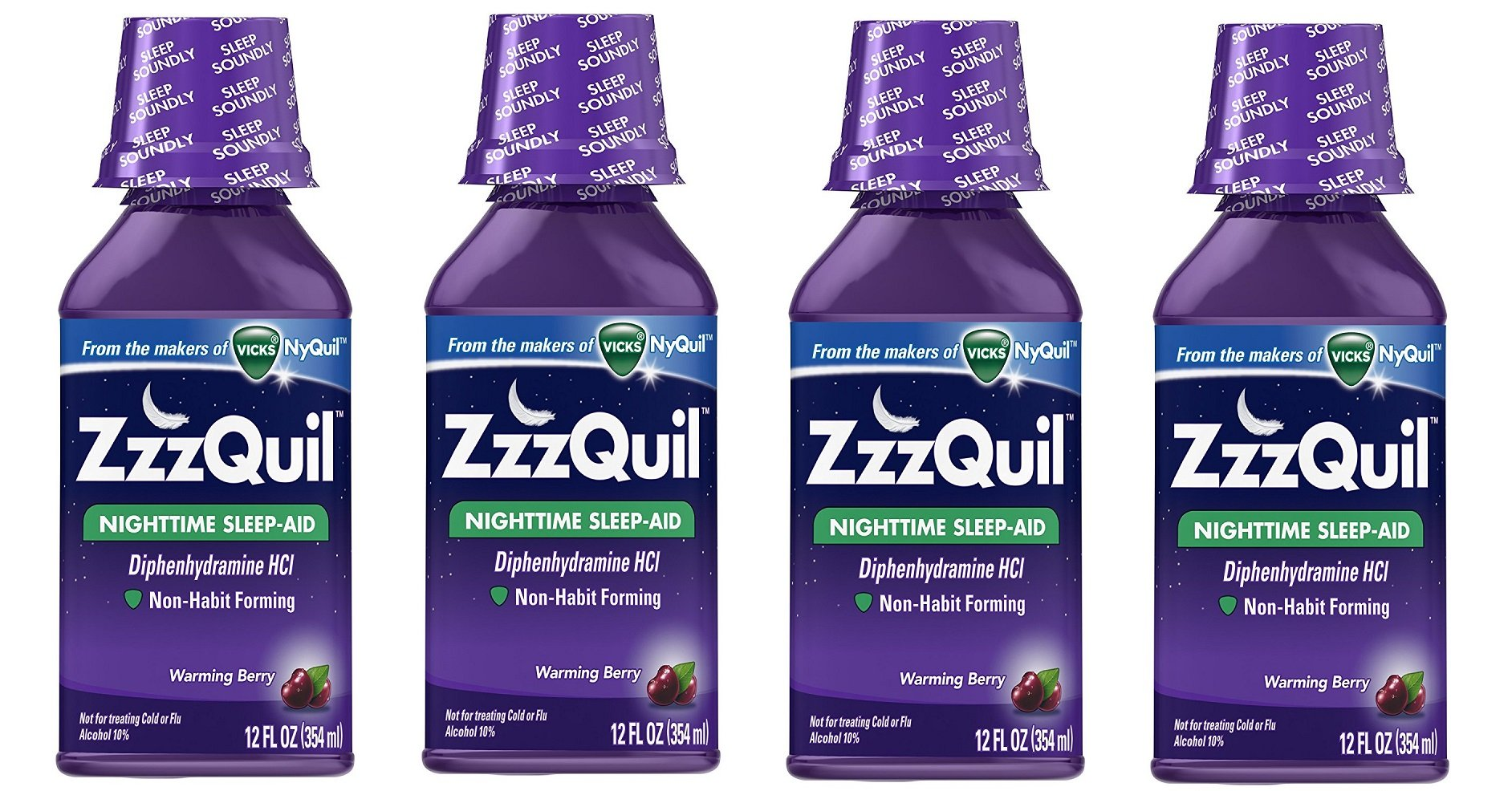 ZzzQuil Nighttime Sleep Aid, Warming Berry Liquid cHgzqy, 4Pack (12 Fl Oz) by ZzzQuil (Image #1)
