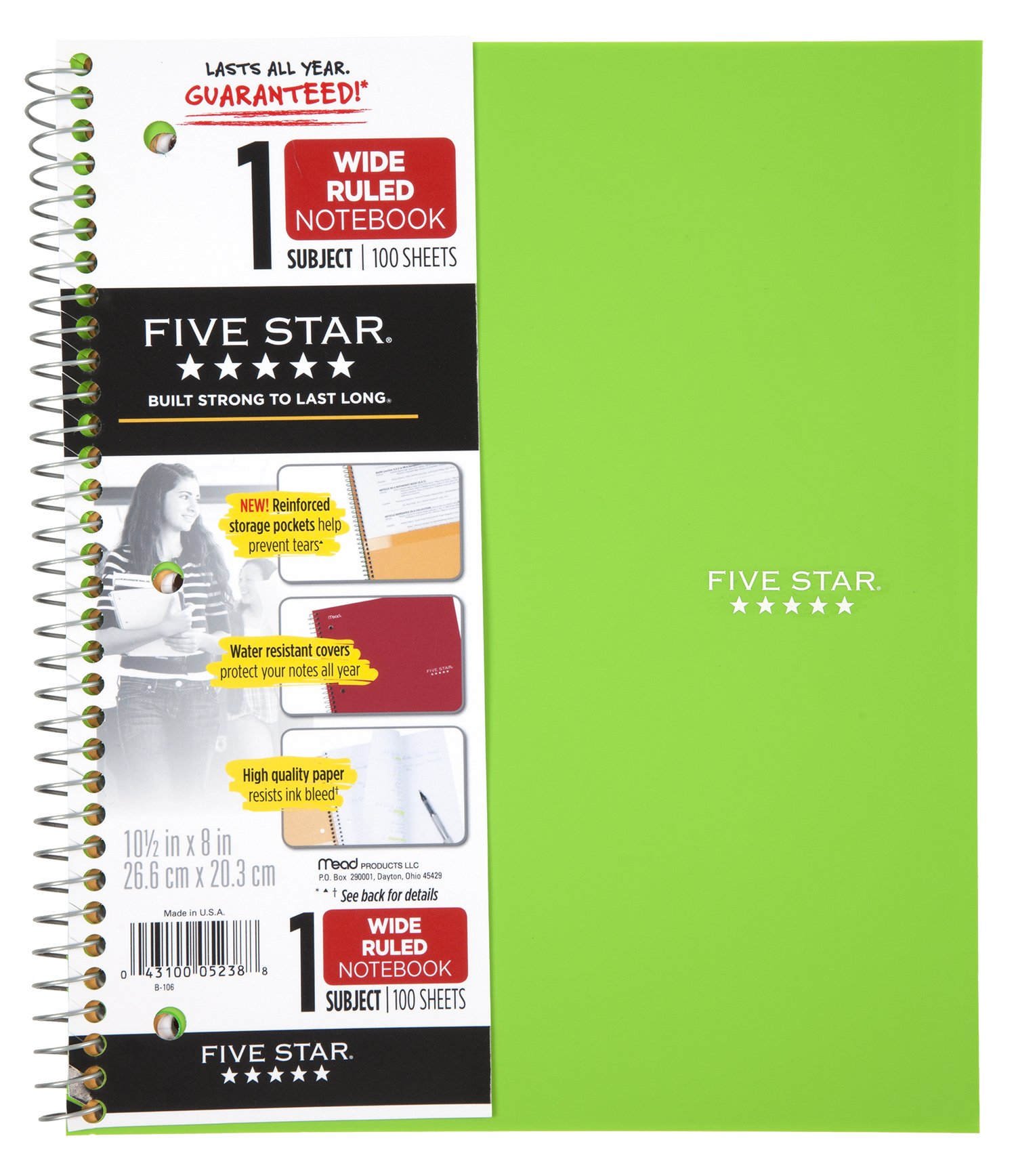 """CDM product Five Star Spiral Notebooks, 1 Subject, Wide Ruled Paper, 100 Sheets, 10-1/2"""" x 8"""", Assorted Colors, 6 Pack (38046) small thumbnail image"""
