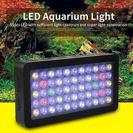 85-265V 165W Regulable 55 LED Luz del Acuario Espectro Completo Lámpara Coral de Plantas