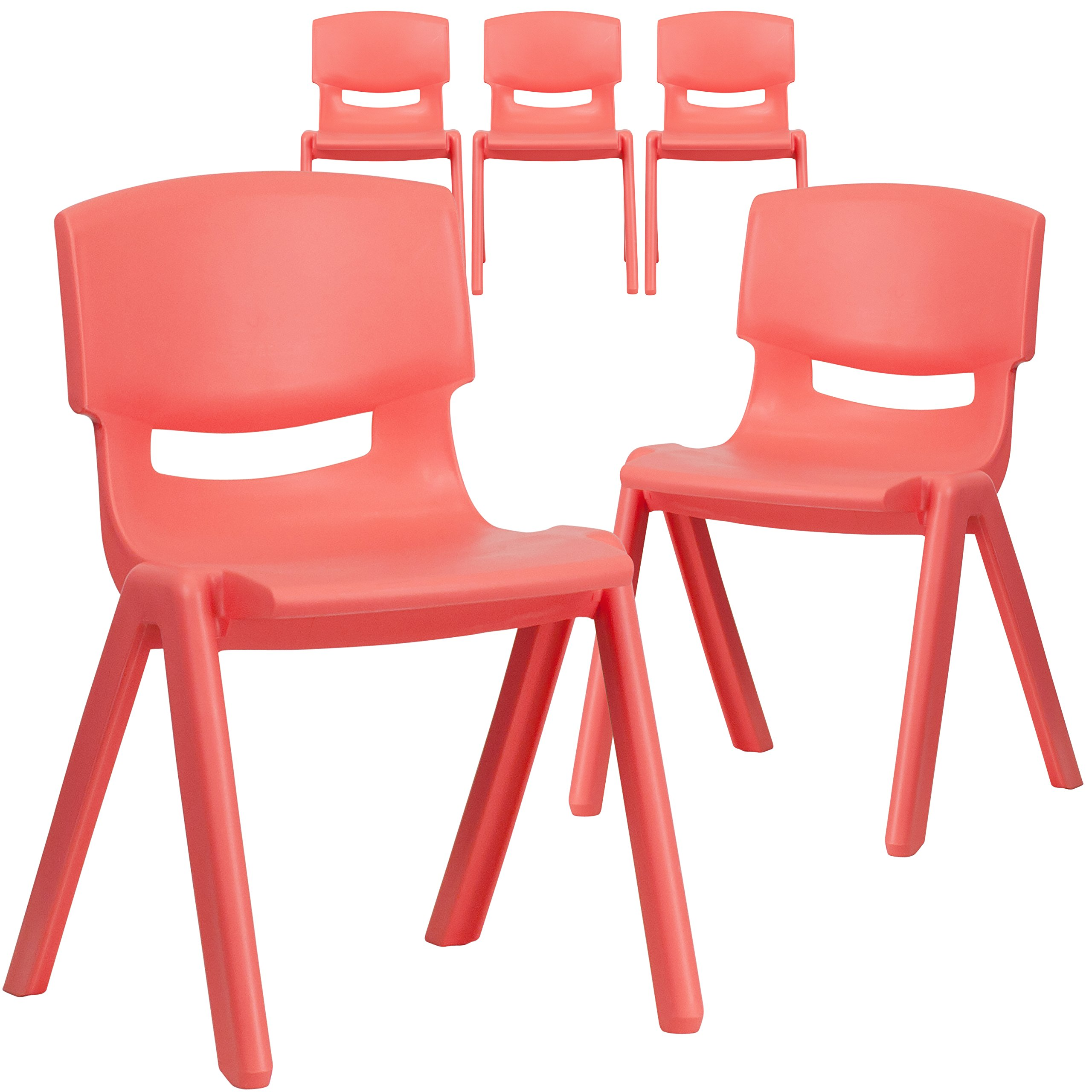 Flash Furniture 5 Pk. Red Plastic Stackable School Chair with 13.25'' Seat Height