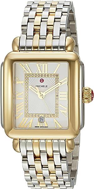 Michele Womens Deco Madison Two-Tone, Diamond Dial Watch