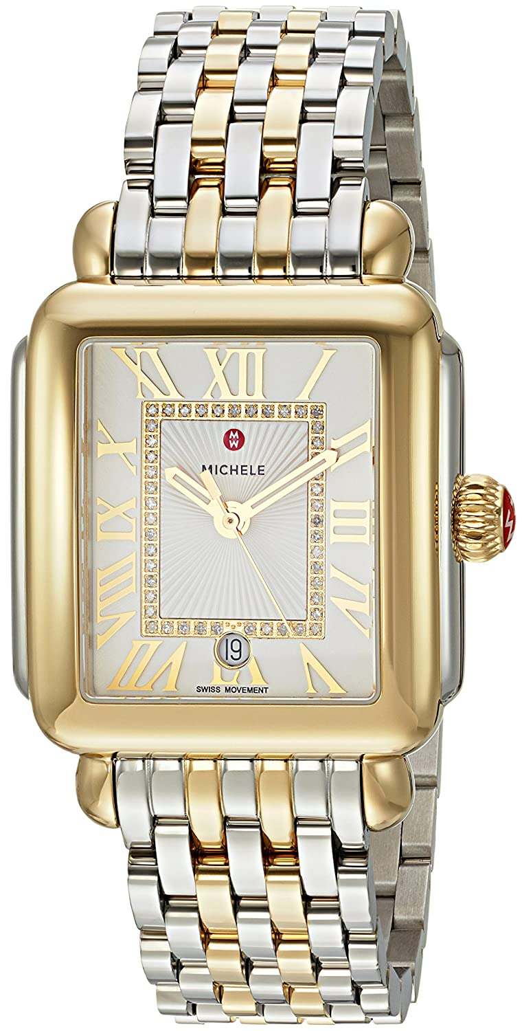 72c7c3c1f8f2 Amazon.com: MICHELE Women's 'Deco Madison' Swiss Quartz Stainless Steel  Casual Watch, Color:Two-Toned (Model: MWW06T000147): Watches