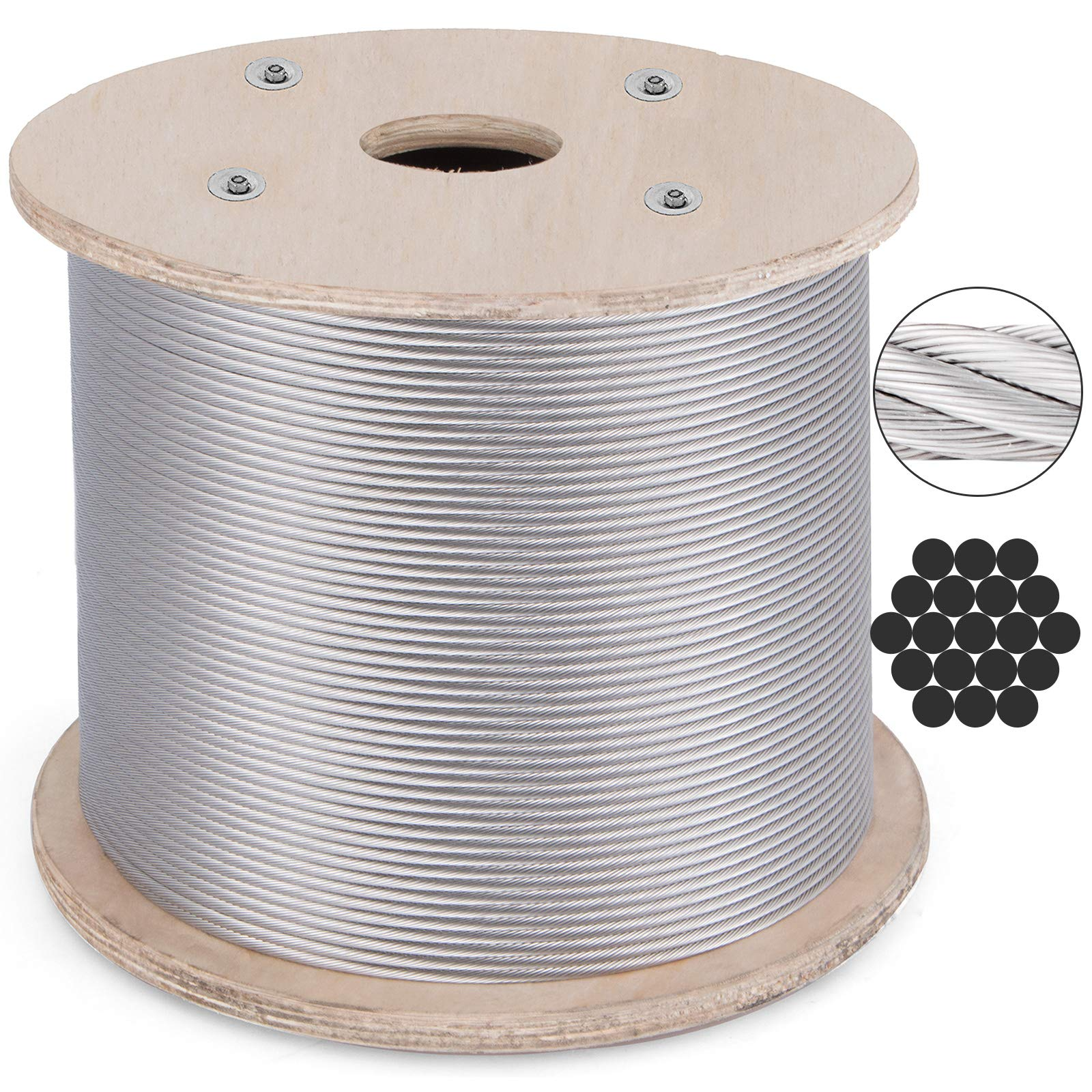 BestEquip 316 Stainless Steel Cable 1000FT Stainless Steel Wire Rope 3/16 Inch 1x19 Steel Cable for Railing Decking DIY Balustrade (1000FT) by BestEquip
