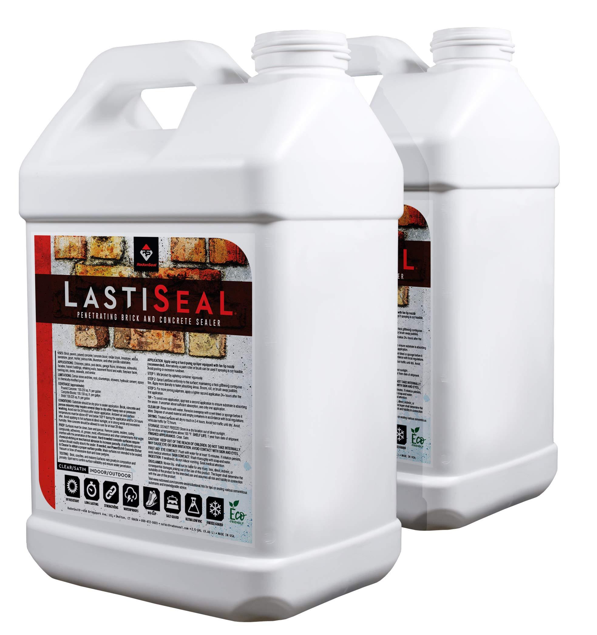 LastiSeal Brick & Concrete Sealer - SATIN Finish (5-gal) | All Purpose Sealer for Brick, Concrete, Stone, Porous Masonry | 15-Year Waterproofing Warranty | Low Gloss Sheen by RadonSeal (Image #1)