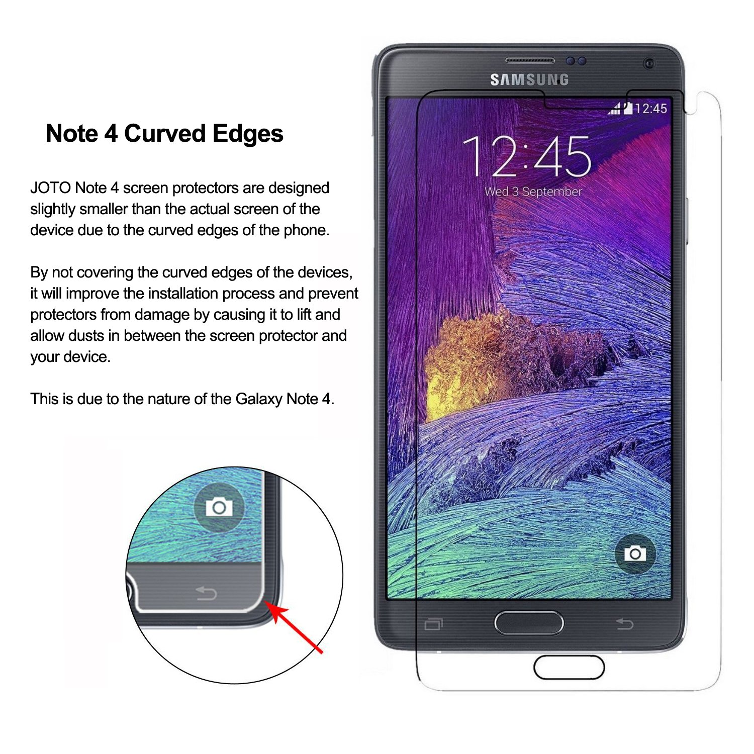 Amazon: Galaxy Note 4 Tempered Glass Screen Protector  Joto Galaxy  Note 4 033 Mm Round: Joto: Cell Phones & Accessories