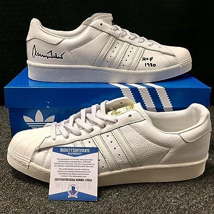 9d4931a2651 JERRY WEST Autograph quot HOF 1980 quot  Signed Adidas Shoes w BAS Beckett  Witness COA
