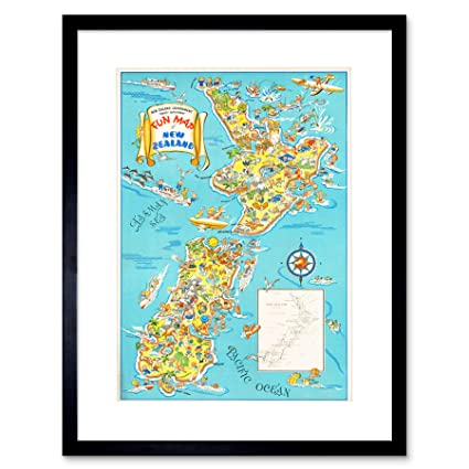 Printable Map Of South Island New Zealand.Amazon Com Maps New Zealand Fun North South Island Tourism Art