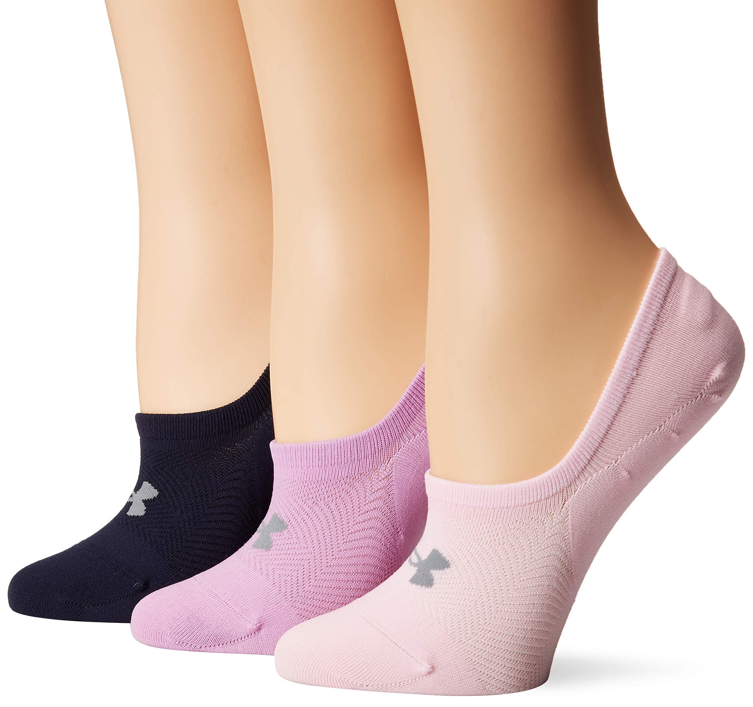 Under Armour Women's Essential Ultra Low Socks (3 Pack), Pink Foam/Assorted, Medium