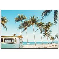 bestforhome canvas foto Van Bulli met surfplank op het strand met palmdoek op houten frame 40 x 60 cm