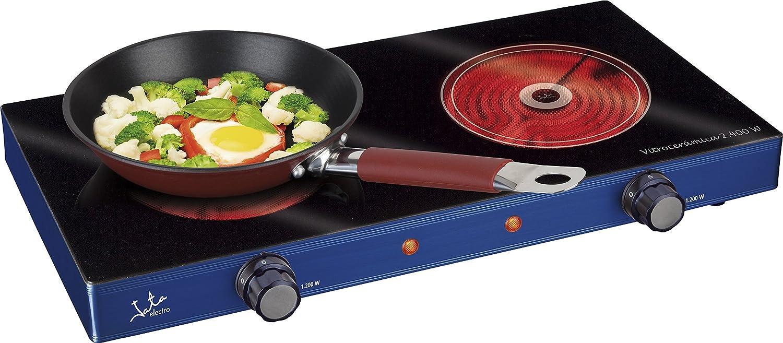 Jata V142 Cocina eléctrica vitrocerámica con 2 placas caloríficas, 2400 W, Azul metálico