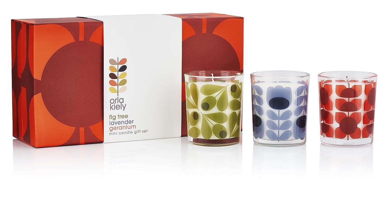 Orla Kiely Mini Kerze Geschenk set-fig Baum, Lavendel und Geranie ...