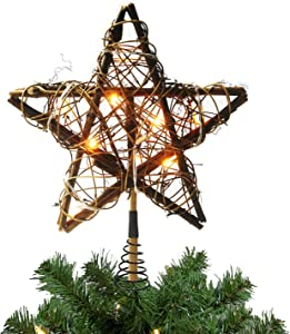 GUCHO Christmas Tree Toppers with 10 Lights,Indoor Rattan Natural Star Treetop for Christmas Tree Decoration and Holiday Seasonal Decor 10inch Christmas Tree Top Decoration Ornament