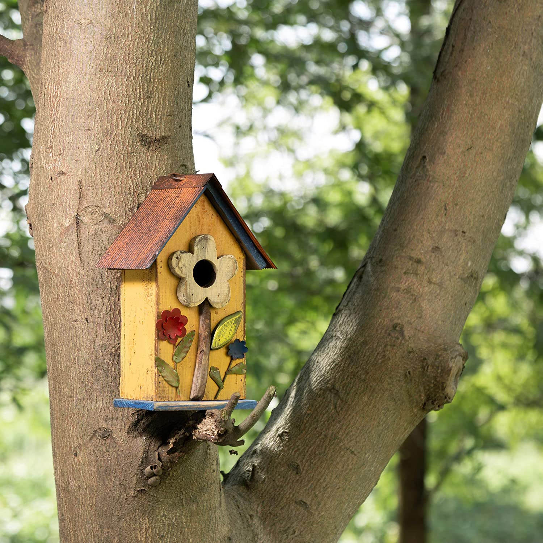 New Magnesium Hanging Song Bird House Garden Decoration Gray Yellow