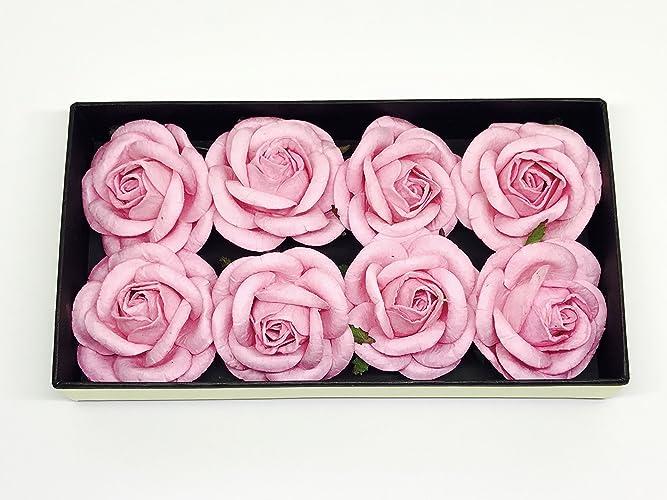 Amazon 2 pink paper roses diy wedding mulberry paper flowers 2quot pink paper roses diy wedding mulberry paper flowers flower backdrop mightylinksfo